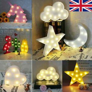 3D LED Wall Desk Night Light Star Moon Unicorn Baby Kids Room Nursery Decoration