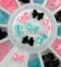 3D Mix 3 Colors  Bow Tie Shape Acrylic Nail Art Gem Decoration Tips Wheel
