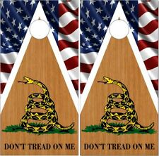 Dont Tread On Me Wood Flag Laminated Cornhole Wrap Bag Toss Skin Decal Sticker