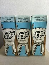 Vintage Coca-Cola 50th Anniversary Hoover Dam Collector Bottles 3pc Set w/ Tray