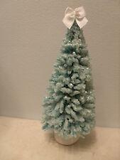 Blue Bottle Brush Sisal Tree Easter Shabby Chic Glitter Flocked Snow Bow