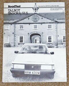 "1981 TALBOT TAGORA 2.2 GLS ""Motor"" Road Test Brochure"