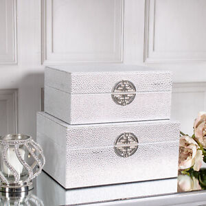 Set of 2 Silver Boxes Storage Faux Leather Trinket Metal Decorative Home Chic
