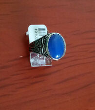 MEN HIGH QUALITY 92.5 STERLING SILVER BLUE OVAL AGATE RING SIZE 10