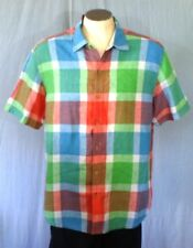 Tommy Bahama Relax Multi-Color Large Hawaiian Shirt Plaid Pattern Linen