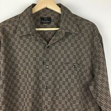 COUNTESS MARA NEW YORK Button Front Brown Ivory Checks L/S Men's Shirt Size L