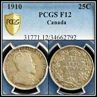 1910 Silver Canada 25 Cents PCGS F12 Fine Quarter Dollar 25c Classic Coin