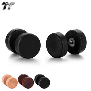 TT Surgical Steel Pin Wood Round Fake Ear Plug Earrings 6/8/10mm (BE207) NEW