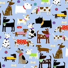 Fabric Dogs of All Kinds Comfy on Pastel Blue Flannel by the 1/4 yard