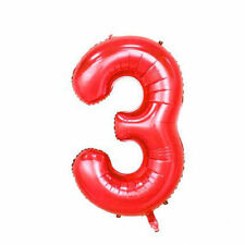 """40"""" Giant Red Three Year Old Baby First Birthday 3 Month Number Float Balloon US"""
