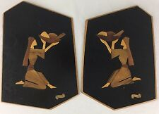 Intarsia Wall Art Plaque Set of 2 Black Lacquer Israel Olive Wood Handmade 1960s