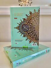 NOBLE Quran A5 Mint Green Word for Word Arabic English Translation Colour Tajwid