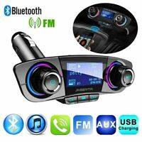 Wireless Bluetooth Handsfree Car Kit FM-Transmitter USB Charger AUX CL Pla T5W7