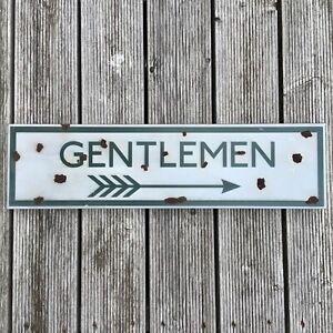 GENTLEMEN - VINTAGE STYLE METAL RAILWAY SIGN. RAILWAY STATION SIGN Toilet SIGN