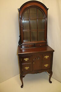 Rare Antique Walnut Queen Ann Small  Arch Shape Secretary, Circa 19th