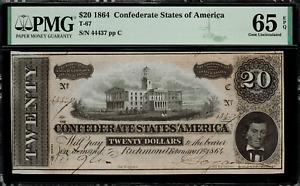 T-67 / PF-14 $20 1864 Confederate Currency CSA - Graded PMG 65 EPQ - Gem Unc.