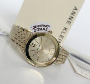 Anne Klein Watch * 2208CHGB Gold Steel Mesh Bracelet Women COD PayPal