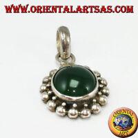Ciondolo in argento 925 con agata verde tonda e bordo con due giri di sfere