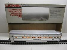 LIONEL 6-9580 ILLUMINATED BURLINGTON ALUMINUM SILVER VIRANDA OBSERVATION CAR