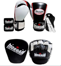 12oz Boxing Gloves punch pads focus mitts skipping rope handwrap MORGAN SET PACK