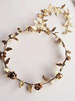 Women Girl BOHO Leaf Beach wedding Gold Flower Hair Headband crown Prop Garland