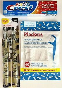 3 Pk Plackers Camo Kids Toothbrushes, 60 ct. Flossers, Colgate Toothpaste 2.2 oz