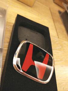 BLK+RED TYPER steering wheel center badge emblem HONDA CIVIC EP ES INTEGRA S2000