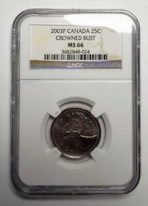 2003 P Canada 25 Cents Crowned Old Effigy Coin NGC MS 66