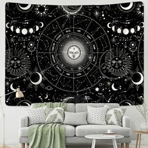 Sun & Moon Mandala Tapestry Wall Hanging White Black Bohemian Gypsy Astrology