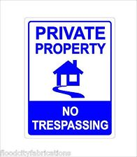 PRIVATE PROPERTY SIGN NO TRESPASS SUBTLE BLUE HOME 9X12 METAL SIGN ALUMINUM