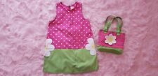 Gymboree showers of flowers polka dot jumper dress purse outfit size 7