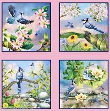 Elizabeth's Studio ~ Blue Jays Bird Squares Panel ~ 100% Cotton Quilt Fabric BTY