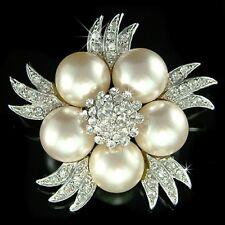 w Swarovski Crystal ~Pearl Flower~ Floral Pin Brooch 4 Bridal Wedding Dress Sash
