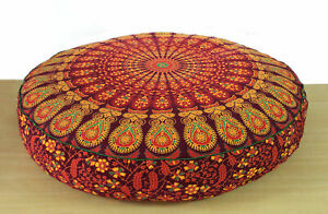 """Indian Red Mandala Cushion Cover Cotton Floor Pillow Pouf Case 35"""" Round Yoga"""