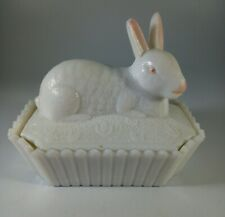 More details for westmoreland milkglass bunny rabbit butter dish - perfect
