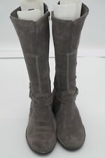 Clarks Derby Palace Suede Zip Up Tall Riding Boots Grey Women's Size 10M