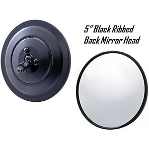 "5"" Black Ribbed Exterior Door Round Rear View Mirror Head 1947-1972 Chevy Truck"