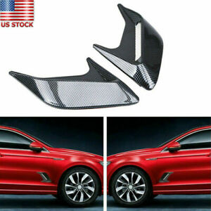 Car Hood Fender Decorative Air Flow Intake Vents Covers Part Carbon Fiber Look