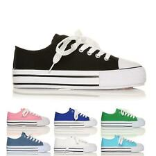 WOMENS LADIES GIRLS FLAT LACE UP PUMPS CANVAS TRAINERS SHOES SIZE 3-8