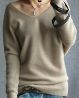 New Women Cashmere V-neck Sweater Wool Blend Sweaters Loose Plus Size Pullover