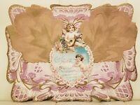 Large Giant Antique Victorian Die Cut Stand Up Valentine Card Cupid Cherubs