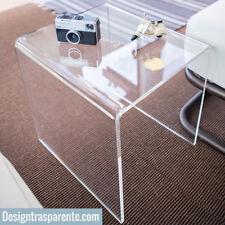 Tavolino plexiglass trasparente da salotto L:30x30 h:40 cm - Designtrasparente_