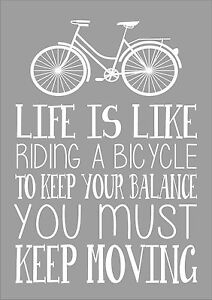 Life Is Like Riding A Bicycle Word Typography Inspiring QuoteAlbert Einstein Art