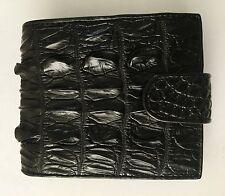 100% Vera Pelle di Coccodrillo in Pelle Bifold Portafoglio Uomo Nero