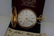 14ct Full Hunter Waltham Traveler Pocket Watch /B.W.C. Case/Saunders Sydney Dial