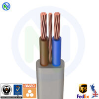 10mm Twin and Earth Cable 1 to 30 mt Shower Cable, 2 Core & Earth BASEC CE UKAS