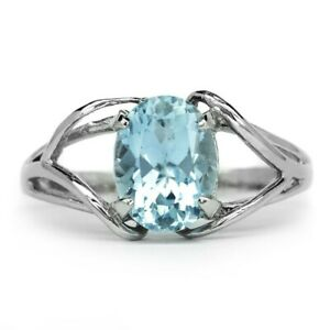 8x6mm Natural Light Blue Aquamarine Ring in 925 Sterling Silver