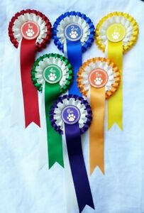 Dog show rosettes, 1st to 6th place or 1st to 3rd place, Dog, puppy rosettes