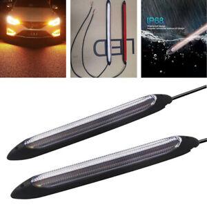 2pcs 15.5cm White/Amber Car Silicone Tube LED Strip DRL Daytime Running Light