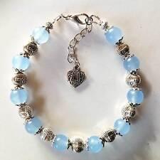 Bracelet zen pierres naturelles perles Jade bleue et perle tête de bouddha